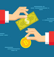 exchange of digital currency bitcoin and dollar vector image vector image