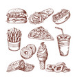 fast food restaurant hand drawn pictures vector image vector image