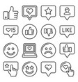feedback and like icons set line style vector image vector image