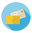 Flat Mail Envelope with Post Letter Circle Icon vector image vector image
