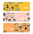 food - line design style banners with three vector image