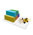 Forklift Shipping Boxes into Container vector image vector image