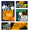halloween night party banner for invitation design vector image vector image