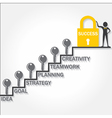Keys climb up success stair and business man point vector image