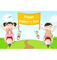 Kids flying with Happy Fathers Day Banner vector image vector image