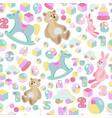 kids toys pastel seamless pattern vector image