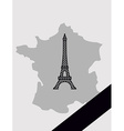 Map of France with mourning Ribbon mourned in act vector image vector image
