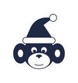 monkey with santa hat icon vector image