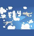origami flight transport blue sky cutting paper vector image