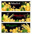 pasta with herbs banner of italian cuisine design vector image vector image
