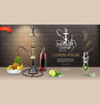 realistic hookah lounge bar template vector image vector image