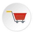 red plastic shopping basket on wheels icon circle vector image vector image