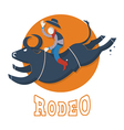 Rodeo symbolMan riding a bull vector image vector image