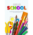 sale poster with hello school typographic design vector image