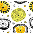 seamless pattern with lion in scandinavian vector image