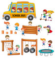 set of doodle student activity vector image vector image