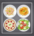 set of food on the dish vector image