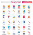 set trendy flat gradient building vector image