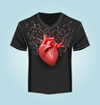 shirt template with human heart and swirl pattern vector image