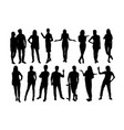 standing people and activity silhouettes vector image vector image