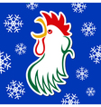 sticker - colored styled rooster with snowflakes vector image vector image