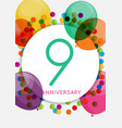 template 9 years anniversary congratulations vector image vector image
