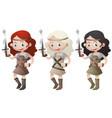 three female warriors holding swords vector image vector image