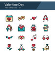 valentine day icons filled out design vector image vector image