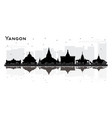 yangon myanmar city skyline silhouette with black vector image vector image