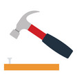 icon of hammer beat to nail vector image