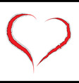 Valentine love heart claws scratch vector image