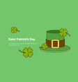 green leprechaun hat and lucky clover leaves on vector image