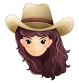 A pretty face of a cowgirl vector image