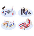 airport isometric compositions set vector image
