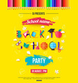 back to school party invitation design with vector image
