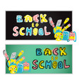 back to school poster school supplies set vector image vector image