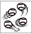 baseball swoosh set 4 vector image vector image