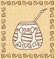 calabash with bombilla vector image vector image