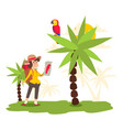 character woman studies parrot on palm tree vector image