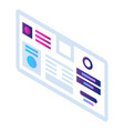 chart info icon isometric style vector image vector image