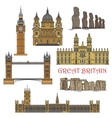 Chilean and british tourist landmark icons vector image vector image