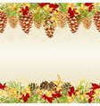 christmas seamless horizontal bordern branches vector image vector image