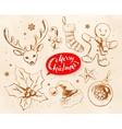 Christmas vintage line art set vector image