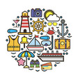 circle with nautical cruise elements set on white vector image vector image