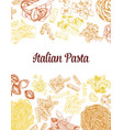 colored hand drawn pasta elements vintage vector image