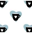 cups mug pattern seamless tile background heart vector image vector image