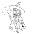cute boy in magician costume with a pumpkin bag vector image vector image