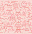 cute various desserts sweets seamless vector image vector image
