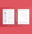 cv resume and cover letter template super clean vector image vector image