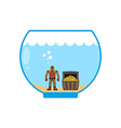 Diver and treasure chest in Aquarium Miniature vector image